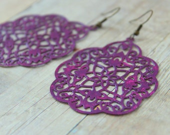 B E R R Y - Plum Purple Lace, Hand Painted Metal Filigree, Antique Bronze Dangle Earrings