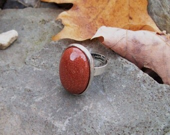 Gypsy ring, Goldstone gemstone ring, Antique silver Adjustable Ring, Sparkle stone - Monk Stone