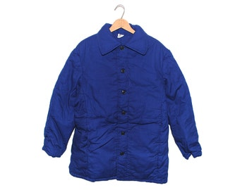 Vintage European Dark Cobalt Blue Padded Cotton Button Up Chore Coat - Large