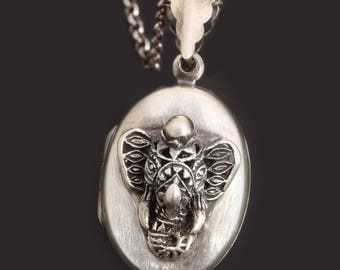 Elephant Locket Sterling Silver Elephant Necklace Pill Box