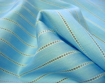 Baby Blue Cotton Sateen Vintage Fabric - Open Work Stripe -Soft & Silky Great for Little Dresses, Retro Frocks, Lamp Shades, Doll Clothing