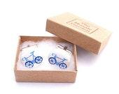 Bicycle Cufflinks Blue, Bike Cufflinks, Men's Gifts, Gift for Dad, Wedding Cufflinks, Groom Cufflinks, Gift for Grandad, Cycling Gift