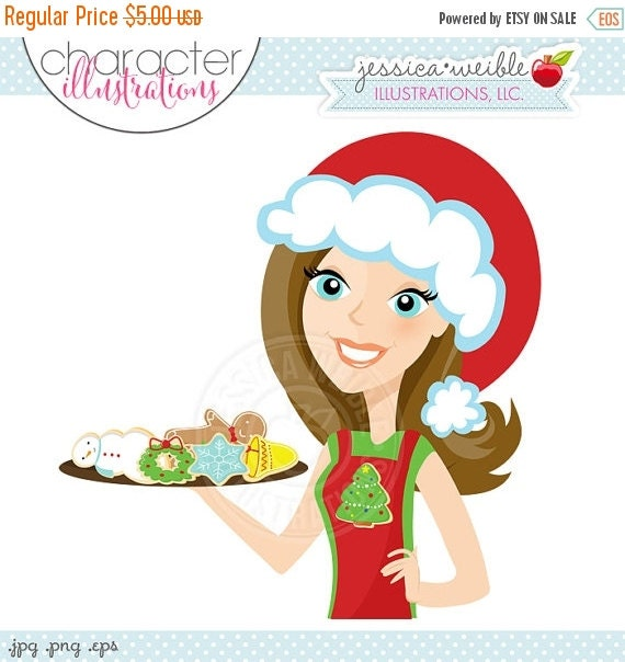 ON SALE Brunette Christmas Cookie Baker Character Illustration, Cartoon Illustration, Woman with Christmas Cookies, Christmas Character