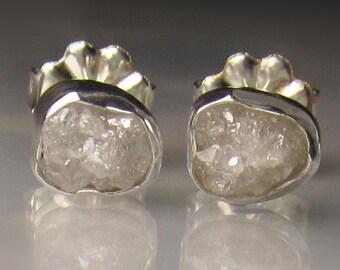 Natural Rough Diamond Earrings - 2.75CTS - Raw Diamond Earrings, Uncut Diamond Studs