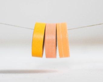 Orange Trio Japanese Washi Tape- 3 Rolls 15mm each