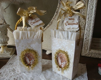 christmas gift bag Vintage style cute deer party favor candy containers gift wrap packaging altered paper gift bags for friend hostess gift