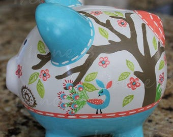 Personalized Piggy bank to match Levtex Baby Fiona crib bedding and nursery decor
