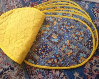 Quilted Reversible Vintage Placemats Yellow Blue Floral Paisley Polka Dots