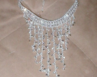 WOW...Vintage Estate Rhinestone Choker Bib Necklace