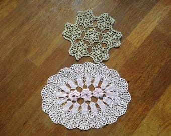 Vintage Doilies Pink Cream Hand Crotcheted