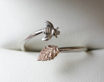 sterling silver bee ring - symbolic Manchester bee