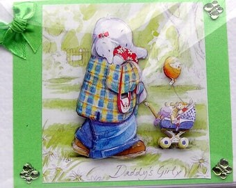 """Hand Crafted 3D Decoupage Card, Blank for any Occasion (2119) """"Walk in the Park"""" Birthday Card, Layered Card, Sister Card, New Dad Card"""