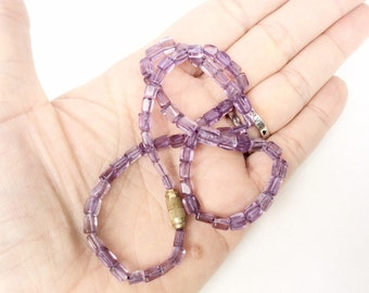beaded Amethyst Necklace small rectangular beads short strand vintage necklace