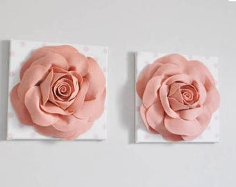 Blush Pink Rose Wall Hangings, Set of Two, Nursery Decor, Girls room, Pink Polka Dot, Flower wall hanging, wall art, Spring Wall Art Decor
