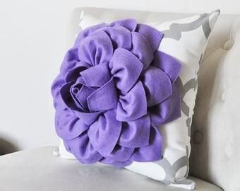 Purple Pillow Cover, Lavender pillow cover, Purple Flower Pillow, Purple White Gray Moroccan Pillow Cover Purple Floral Pillow Cover Nursery