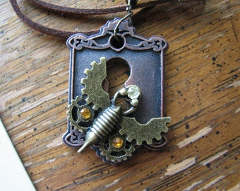Scarab beetle jewelry | moth necklace | steampunk | insect | women | lock | style