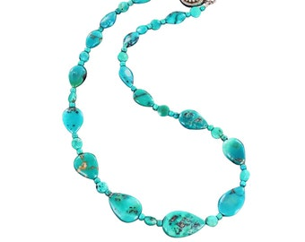 "BLUE TURQUOISE NECKLACE Teardrops 17"" New World Gems"