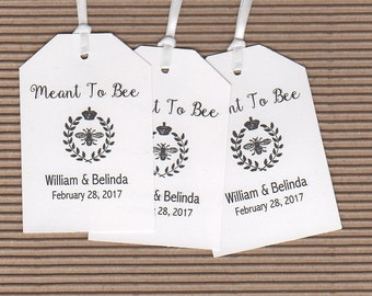 Meant To Bee Thank You Favor Gift Tags, Personalized Bee Wedding Favor Gift Tags, Honey Jar Label Tags