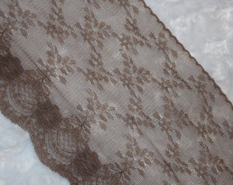 """2 yards Taupe  Brown galloon floral sheer scalloped NON stretch lace 6"""" wide"""