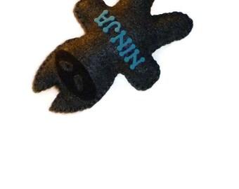 Plush ninja cat, kids toys for boy, stuffed animals, black ninja cat, boys birthday gift, black and blue