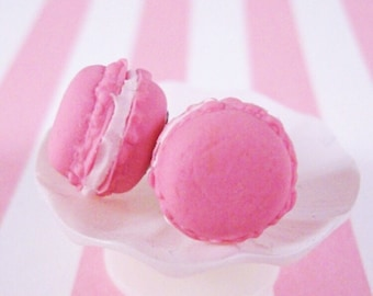 French Macaron Earring Studs, Strawberry Scented (pink)