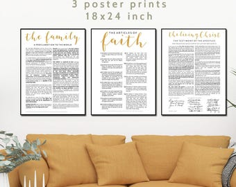 3 LDS Poster Print Bundle, The Family Proclamation, Articles of Faith, The Living Christ, Family Proclamation, Family Proclamation Print