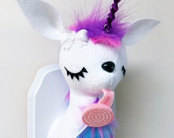 Lollipop Unicorn Faux Taxidermy