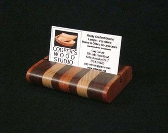 Wooden BusinessCard Holder, Recipe Card Holder, Postcard Holder