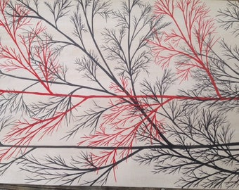 Black and Red Tree on TABLE RUNNER