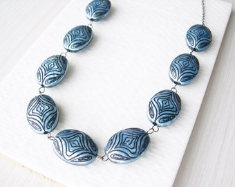Blue Statement Necklace, Long, Black, Geometric Jewelry, Chunky, Beaded, Abstract Pattern, Acrylic, Retro, Vintage Look