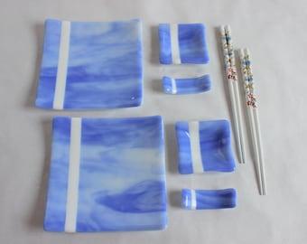 SUSHI GIFT SET Fused Glass with Chopsticks, Under 50, Japanese Dishes, Wedding Anniversary Graduation Gift, Sushi Plate, Blue White Dishes