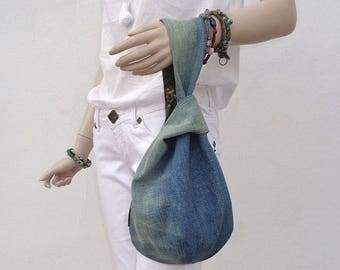 Japanese knot wristlet clutch mini bag pouch case purse recycled denim made to order