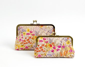 Floral linen Liberty of London Print clutch, Party clutch, Formal purse, Bridesmaids gift, Bag Noir