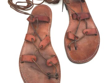 Vintage Greek Strappy Sandals Brown Leather Gladiator Flat Sandal by Venus N. Zhene Handmade Sandals From Greece Size Euro 40 US 8