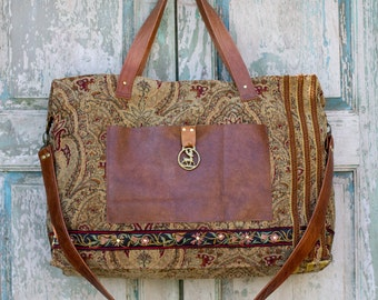 Handmade Italian Inspired Textile Weekender Bag with vintage Brown Leather and European Embroidery