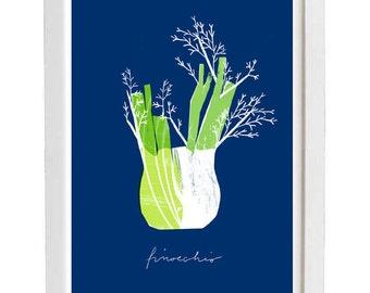 "Blue Finocchio - Kitchen art print - 11""x15"" - archival fine art giclée print"