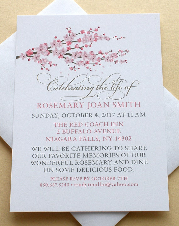 Celebration Of Life Invitations With A Branch Of Pink Blossoms