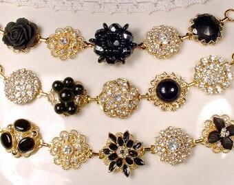 OOAK Gold Black Bridesmaid Bracelets Set Avail, Black Crystal & Clear Rhinestone Vintage Wedding Earring Bracelets, Bridesmaid Jewelry Gift