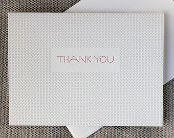 Set of 6 Letterpressed Silver Arrow 'Thank You' Cards