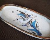 Vintage Tonala Mexico Pottery Oval Dish with Bird Design