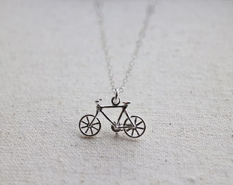 Bicycle Necklace. sterling silver bicycle necklace. silver bicycle pendant necklace . silver bike. birthday gift. minimalist