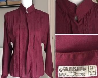 VINTAGE 80's 100% wool ladies long sleeve maroon JAEGER shirt - mandarin collar - estimated UK 12