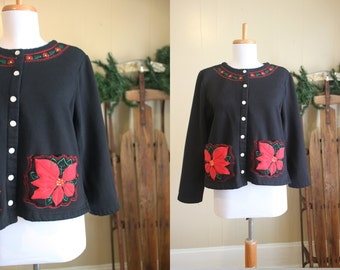 Ugly Christmas Sweater Party Vintage Holiday Cardigan Sweatshirt Poinsettia Black M L