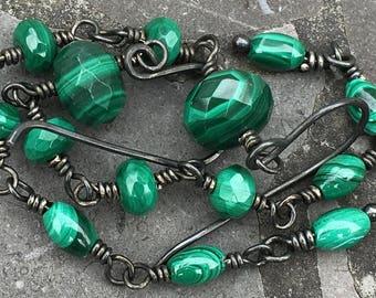 Long Oxidized Sterling Silver Wire Wrapped Green Malachite Earrings
