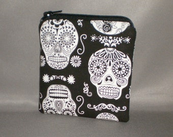 Coin Purse - Gift Card Holder - Card Case -Small Padded Zippered Pouch - Mini Wallet - Day of The Dead - Glows in the Dark