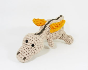 Amigurumi baby dragon crochet baby rattle stuffed toy - organic cotton - beige, orange and brown