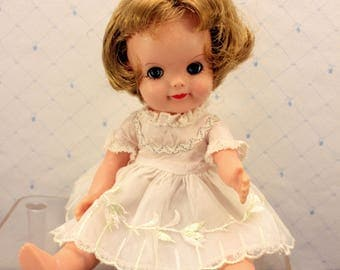 Effanbee Fluffy Doll 1965 8.5 inches Blonde Hair White Dress