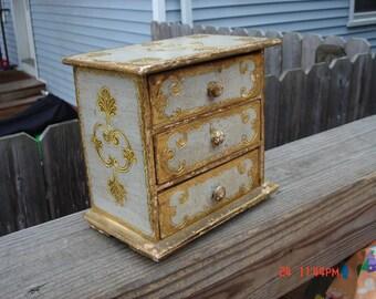 Vintage  Wood Italian Florentine Three Drawer Jewelry Box - Made in Italy