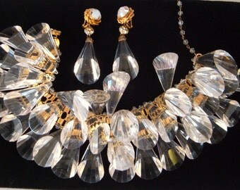 William De Lillo Lucite Necklace and Earrings Crystal Cone Drop Massive Choker Collar