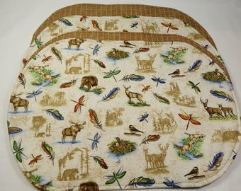 Placemats, Northwoods Decor,  Handmade Placemats, Bear, Deer, Moose Made in USA